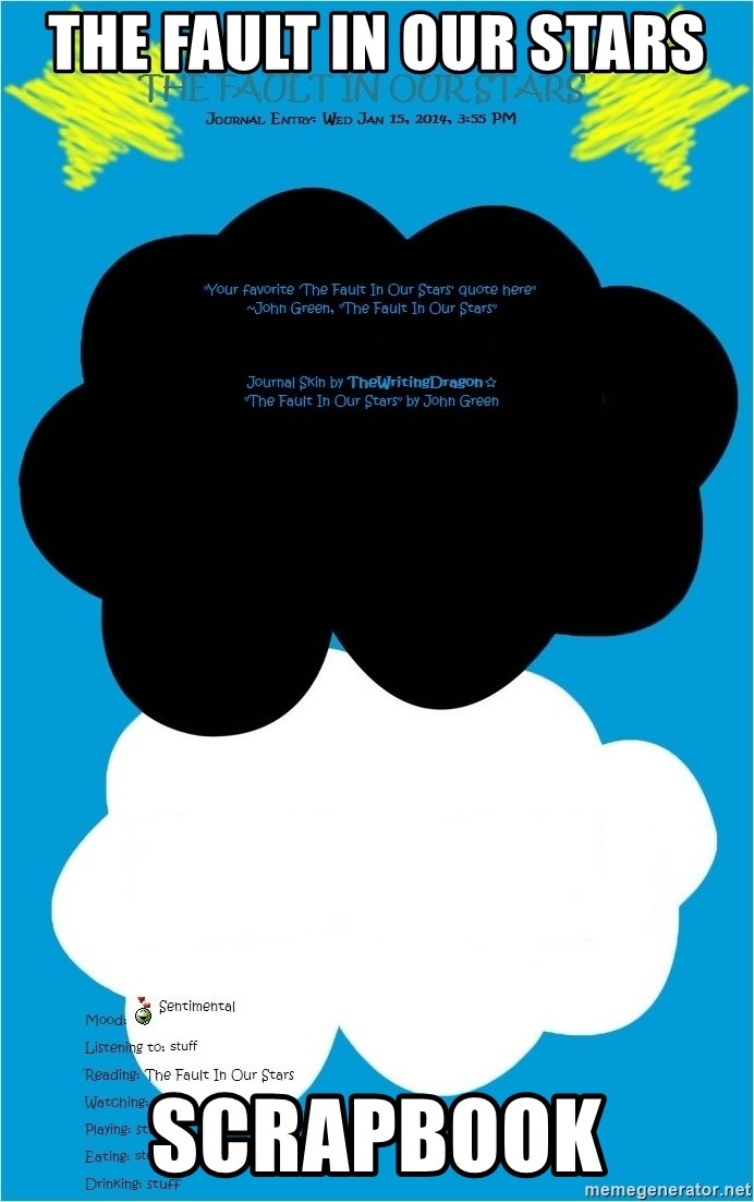 The Fault In Our Stars Scrapbook Fault In Our Stars Cloud Cover