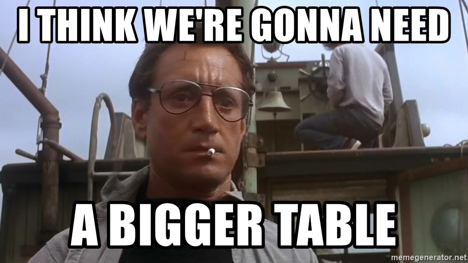 IMAGE(https://memegenerator.net/img/instances/72810371/i-think-were-gonna-need-a-bigger-table.jpg)