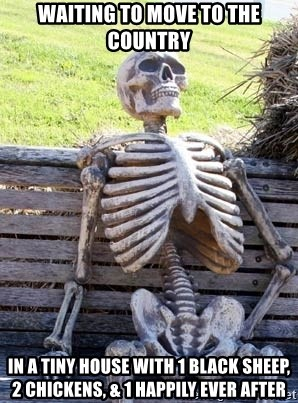 Waiting Skeleton - WAITING TO MOVE TO THE COUNTRY IN A TINY HOUSE WITH 1 BLACK SHEEP, 2 CHICKENS, & 1 HAPPILY EVER AFTER