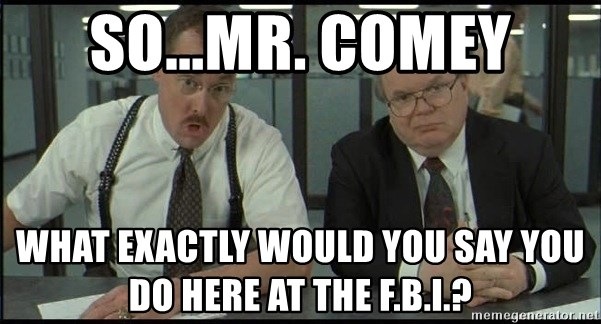 Office space - So...Mr. Comey What exactly would you say you do here at the F.B.I.?