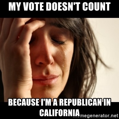 crying girl sad - My vote doesn't count Because I'm a Republican in California