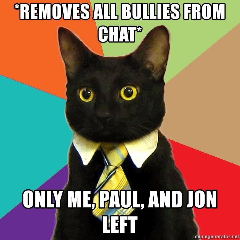 Business Cat - *removes all bullies from chat*  only me, paul, and jon left