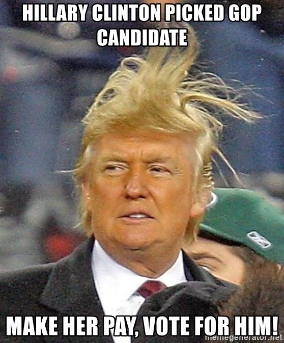 Donald Trump wild hair - Hillary Clinton picked GOP Candidate Make her pay, vote for him!