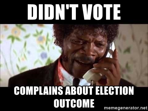 Pulp Fiction sending the Wolf - Didn't vote Complains about Election outcome
