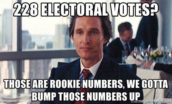 73055884 228 electoral votes? those are rookie numbers, we gotta bump those