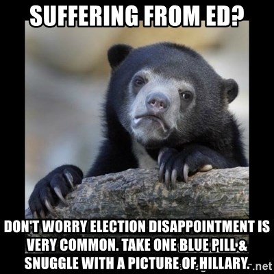 sad bear - SUFFERING FROM ED? don't worry election disappointment is very common. Take one blue pill & snuggle with a picture of Hillary.
