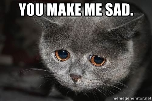 You Make Me Sad Sad Cat Meme Generator