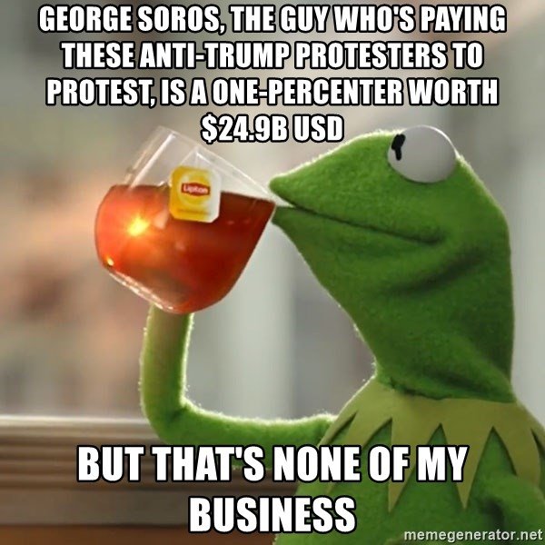 Kermit The Frog Drinking Tea - George Soros, the guy who's paying these Anti-Trump protesters to protest, is a one-percenter worth $24.9B USD but that's none of my business