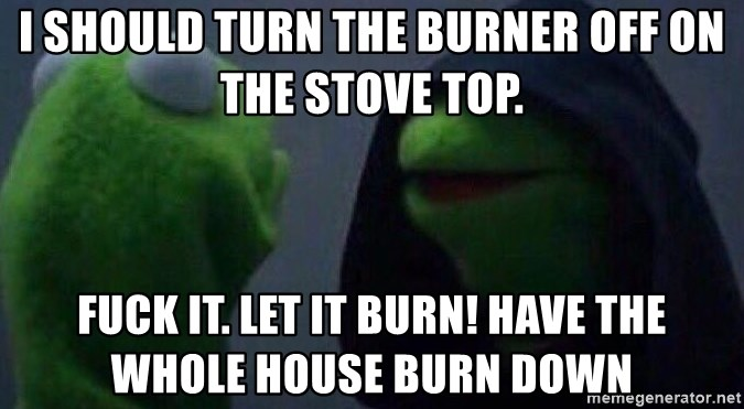 Evil kermit - I should turn the burner off on the stove top. Fuck it. Let it burn! Have the whole house burn down