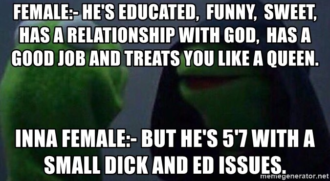 Evil kermit - Female:- He's educated,  funny,  sweet, has a relationship with God,  has a good job and treats you like a queen. Inna Female:- but he's 5'7 with a small dick and ED issues.