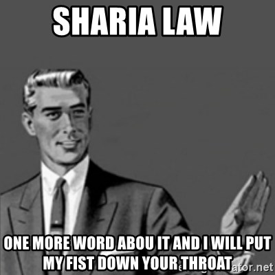 Correction Guy - sharia law one more word abou it and i will put my fist down your throat