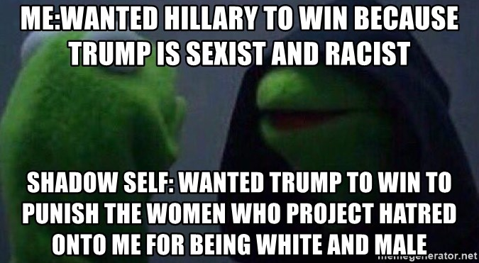 Evil kermit - Me:Wanted Hillary to win because Trump is sexist and racist Shadow Self: Wanted Trump to win to punish the women who project hatred onto me for being white and male