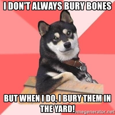 Cool Dog - I don't always bury bones but when I do, I bury them in the yard!
