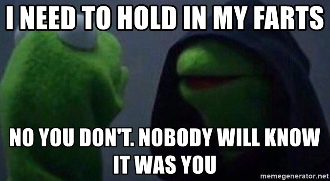 Evil kermit - i need to hold in my farts no you don't. nobody will know it was you