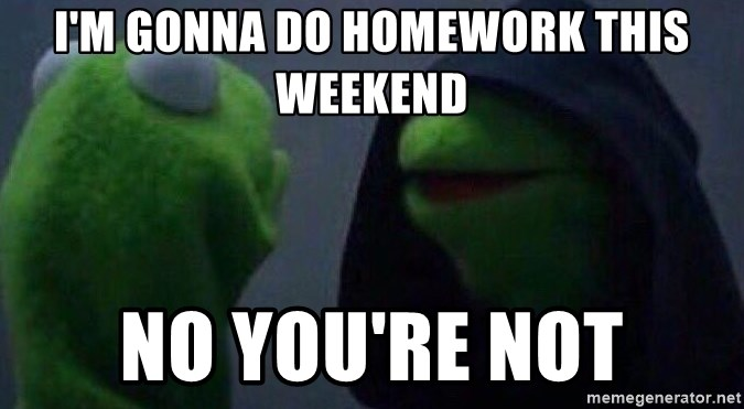 Evil kermit - I'm gonna do homework this weekend No you're not