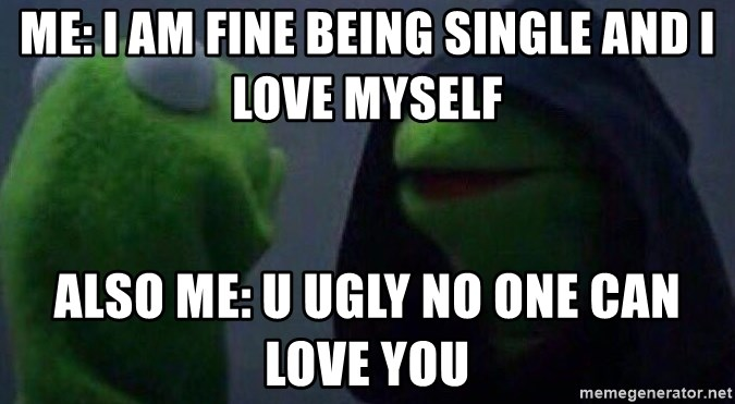 Evil kermit - Me: I am fine being single and I love myself Also me: u ugly no one can love you