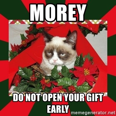 Early Christmas Meme.Morey Do Not Open Your Gift Early Grumpy Cat On Christmas