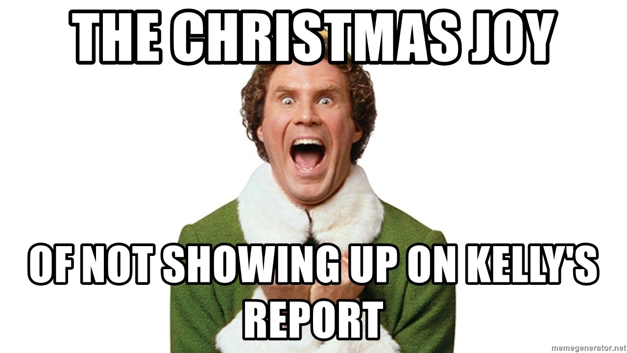The Christmas JOY of not showing up on Kelly\'s report - Elf Tornado ...
