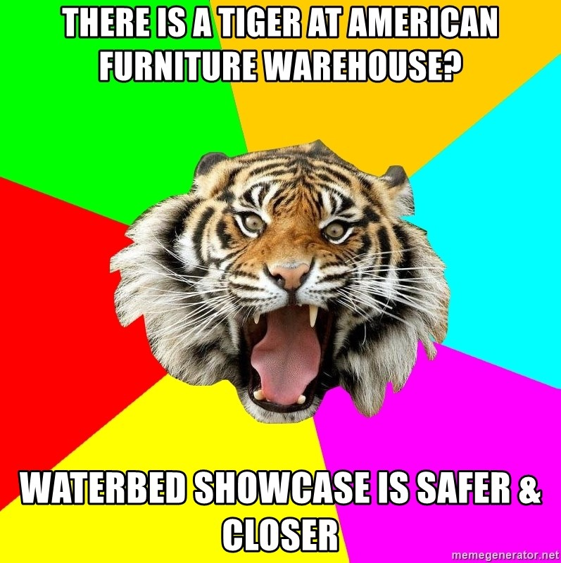 There is a Tiger at American Furniture Warehouse? Waterbed Showcase ...