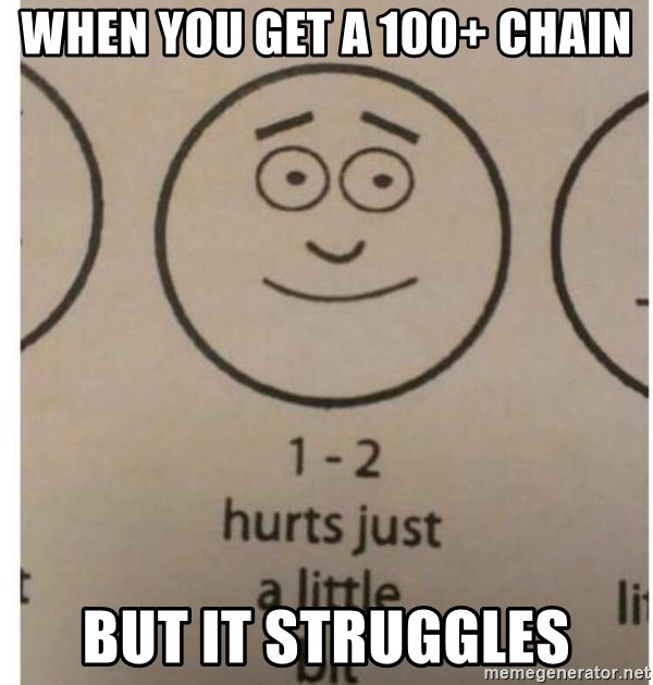 1-2 hurts just a little bit - when you get a 100+ chain but it struggles