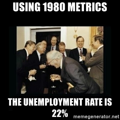 Rich Men Laughing - using 1980 metrics the unemployment rate is 22%