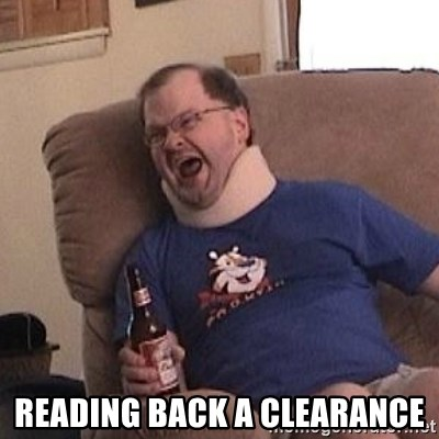 Fuming tourettes guy -  reading back a clearance