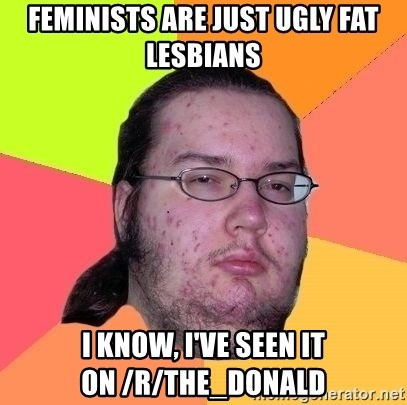Gordo Nerd - FEMINISTS ARE JUST UGLY FAT LESBIANS I KNOW, I'VE SEEN IT ON /r/The_Donald