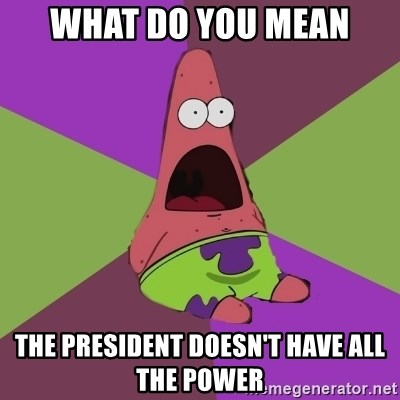 Surprised Patrick Star - what do you mean the president doesn't have all the power