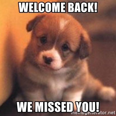 cute puppy - Welcome back! we missed you!