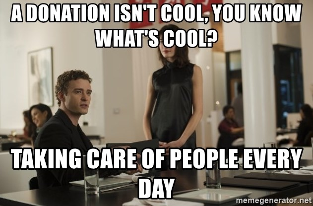 sean parker - A donation isn't cool, you know what's cool? taking care of people every day