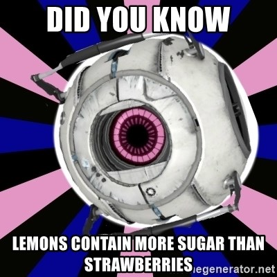 """""""Did you know"""" Fun Fact sphere  - did you know lemons contain more sugar than strawberries"""
