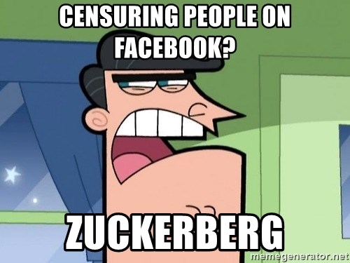 Dinkleberg - censuring people on facebook? Zuckerberg