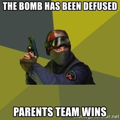 Counter Strike - The bomb has been defused Parents team wins