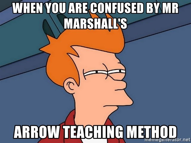 Futurama Fry - WHen you are confused by Mr marshall's arrow teaching method