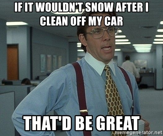 That'd be great guy - If it wouldn't snow after I clean off my car That'd be great