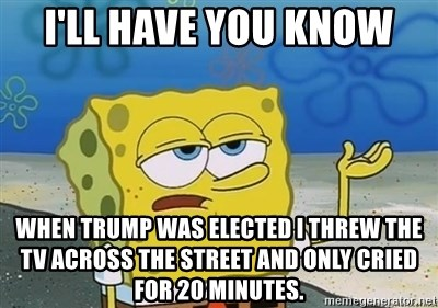 I'll have you know - I'll have you know when trump was elected i threw the tv across the street and only cried for 20 minutes.