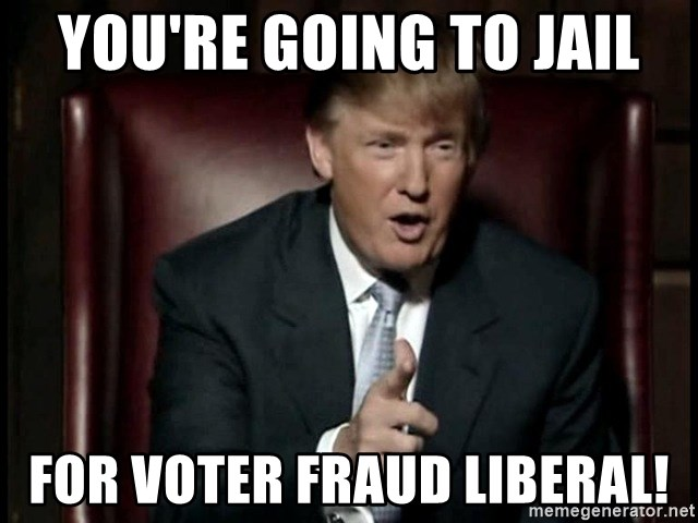 You're going to jail For voter fraud liberal! - Donald Trump | Meme  Generator
