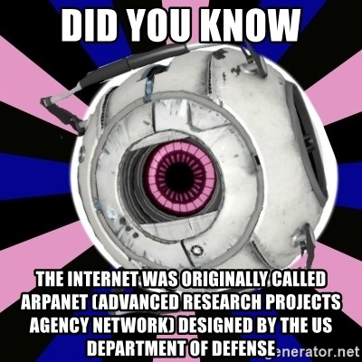 """""""Did you know"""" Fun Fact sphere  - did you know the Internet was originally called ARPANet (Advanced Research Projects Agency Network) designed by the US department of defense"""