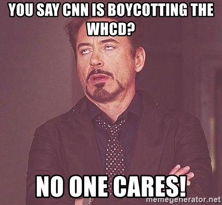 Robert Downey Jr rolls eyes - you say CNN is boycotting the WHCD? no one cares!