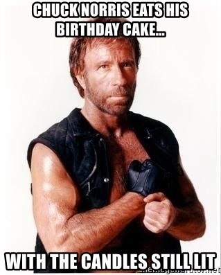 Fabulous Chuck Norris Eats His Birthday Cake With The Candles Still Lit Funny Birthday Cards Online Alyptdamsfinfo