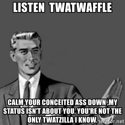 Correction Guy - Listen  twatwaffle calm your conceited ass down ,my status ISN'T about you. You're not the only twatzilla i know.
