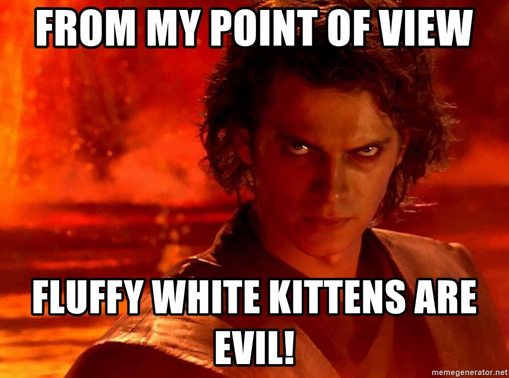 Anakin Skywalker - From my point of view Fluffy white kittens are evil!