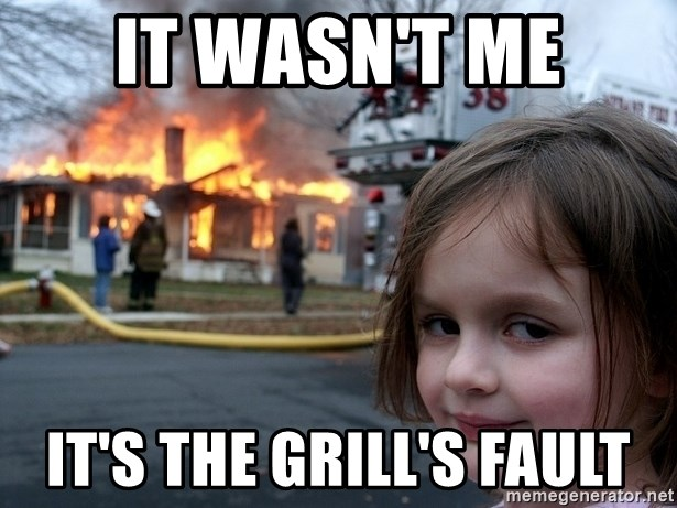 Disaster Girl - It wasn't me It's the grill's fault