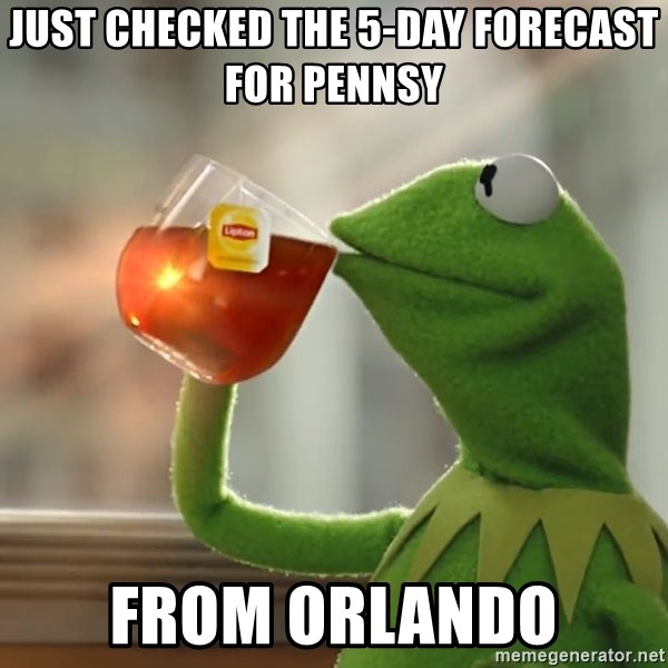 Just Checked The 5 Day Forecast For Pennsy From Orlando Kermit The Frog Drinking Tea