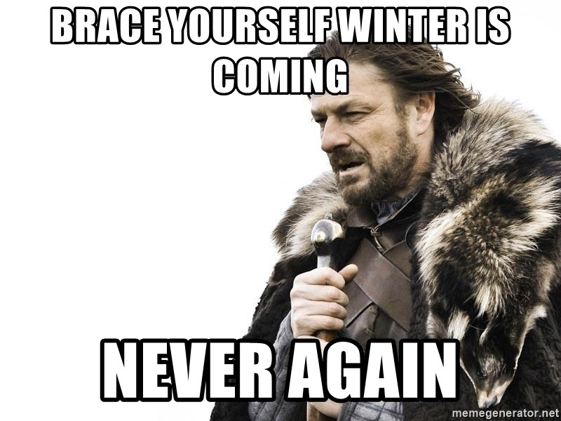 Winter is Coming - brace yourself winter is coming never again