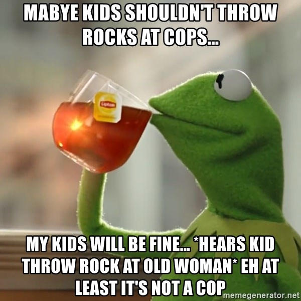 Kermit The Frog Drinking Tea - mabye kids shouldn't throw rocks at cops... my kids will be fine... *hears kid throw rock at old woman* eh at least it's not a cop