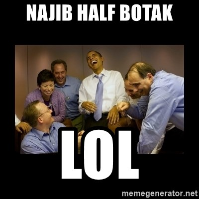 obama laughing  - Najib half botak lol