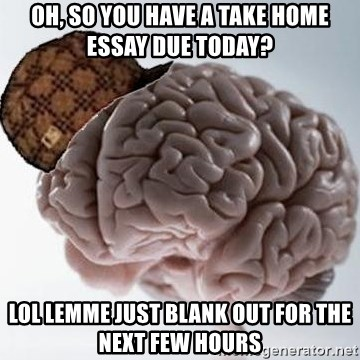 Scumbag Brain - Oh, so you have a take home essay due today? lol lemme just blank out for the next few hours