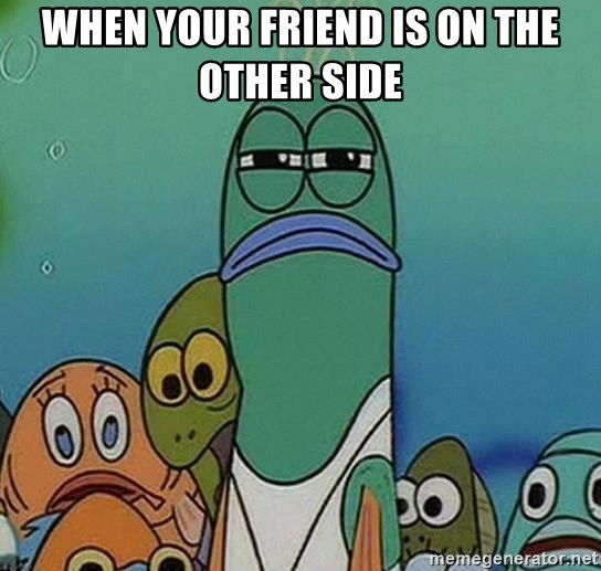 suspicious spongebob lifegaurd - When your friend is on the other side