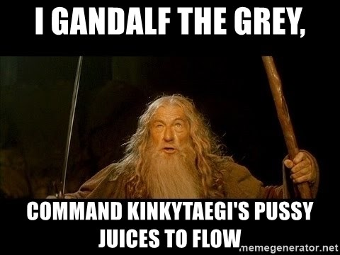 you shall not pass gandalf the gray - i GANDALF THE GREY, COMMAND KINKYTAEGI'S PUSSY JUICES TO FLOW